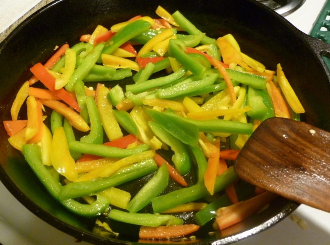 peppers and onions frying
