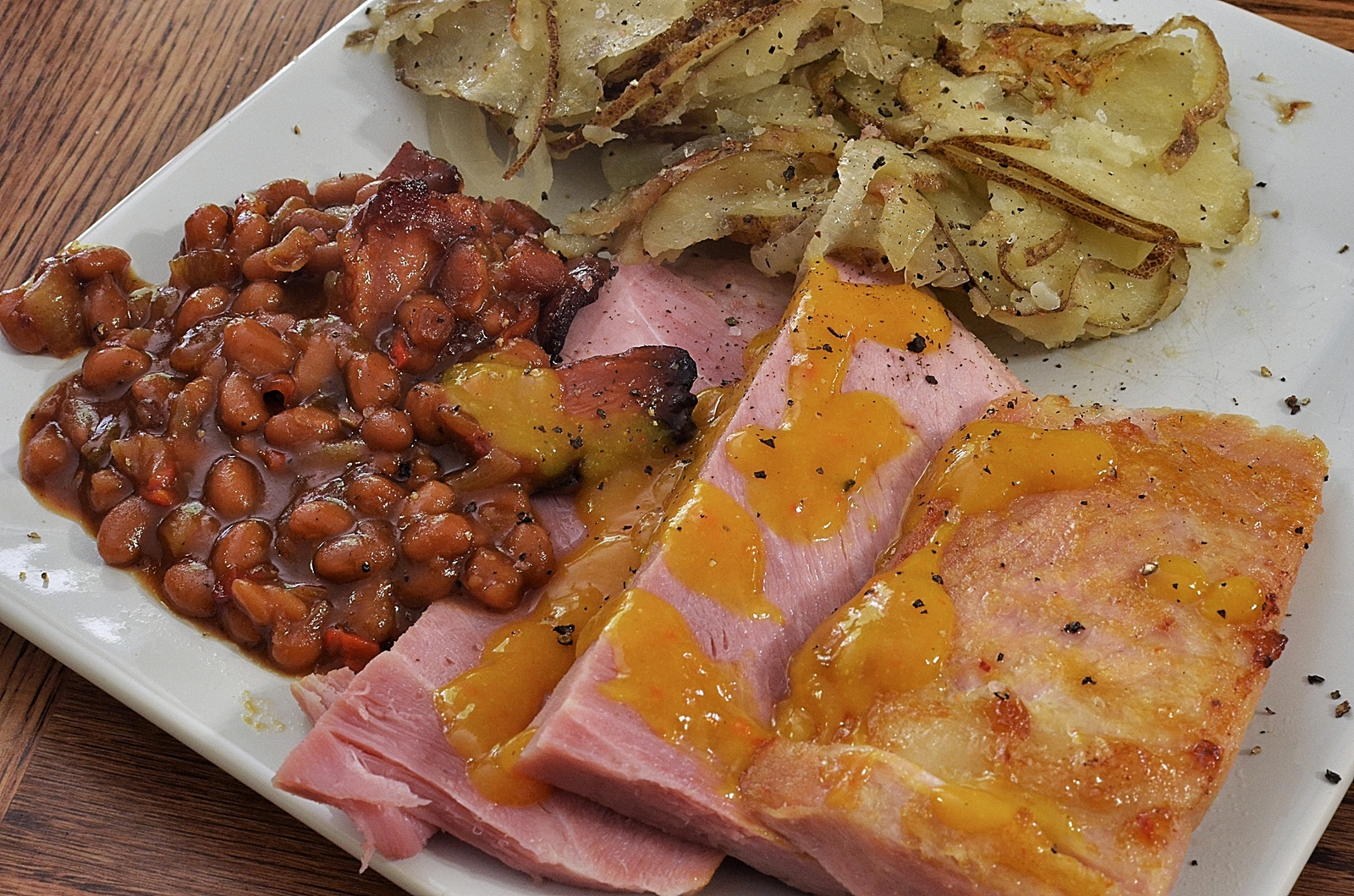 Ham Steaks With Baked Beans And Home Fries What S 4