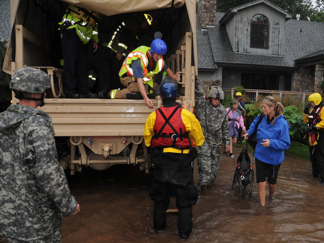 National Guard evacuating people from Lyons